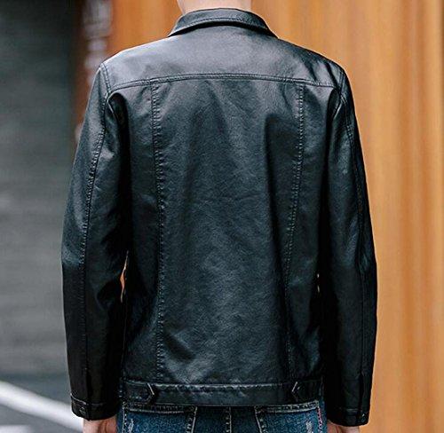 Faux Leather Bike Lapel Moto Black Mens Autumn Zip Up Jacket Generic Slim Coat CIwztCq