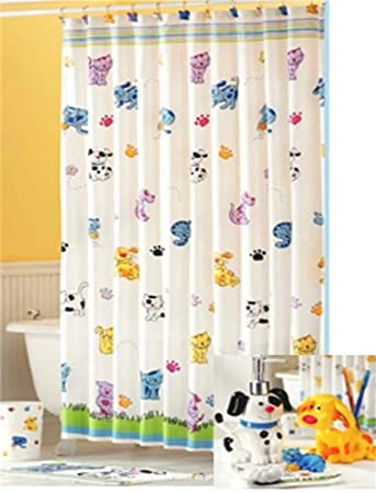 Cats Dogs Fabric Shower Curtain Amazonca Home Kitchen
