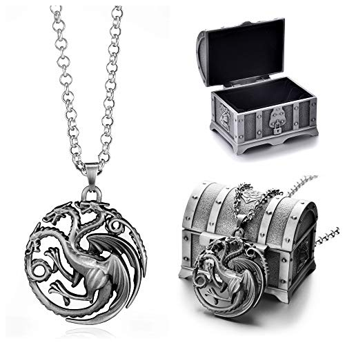 Game Pendant - REINDEAR Game of Thrones House Targaryen Sigil Crest Metal Necklace W/Treasure Chest (Pewter)