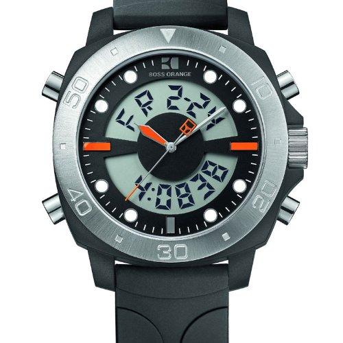 6799fb262d25 Hugo Boss Boss Orange - Reloj digital de cuarzo para hombre con correa de  silicona