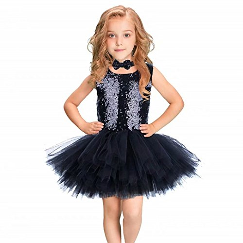 Baby Girls Sequin Princess Dress Sleeveless Tutu Tulle Birthday Party Dresses with Headband/Bow Tie