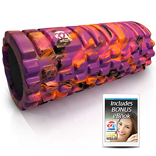 321 STRONG Foam Roller - Medium Density Deep Tissue Massager - Muscle Massage + Myofascial Trigger Point Release - Includes 4K eBook - Sunrise ()