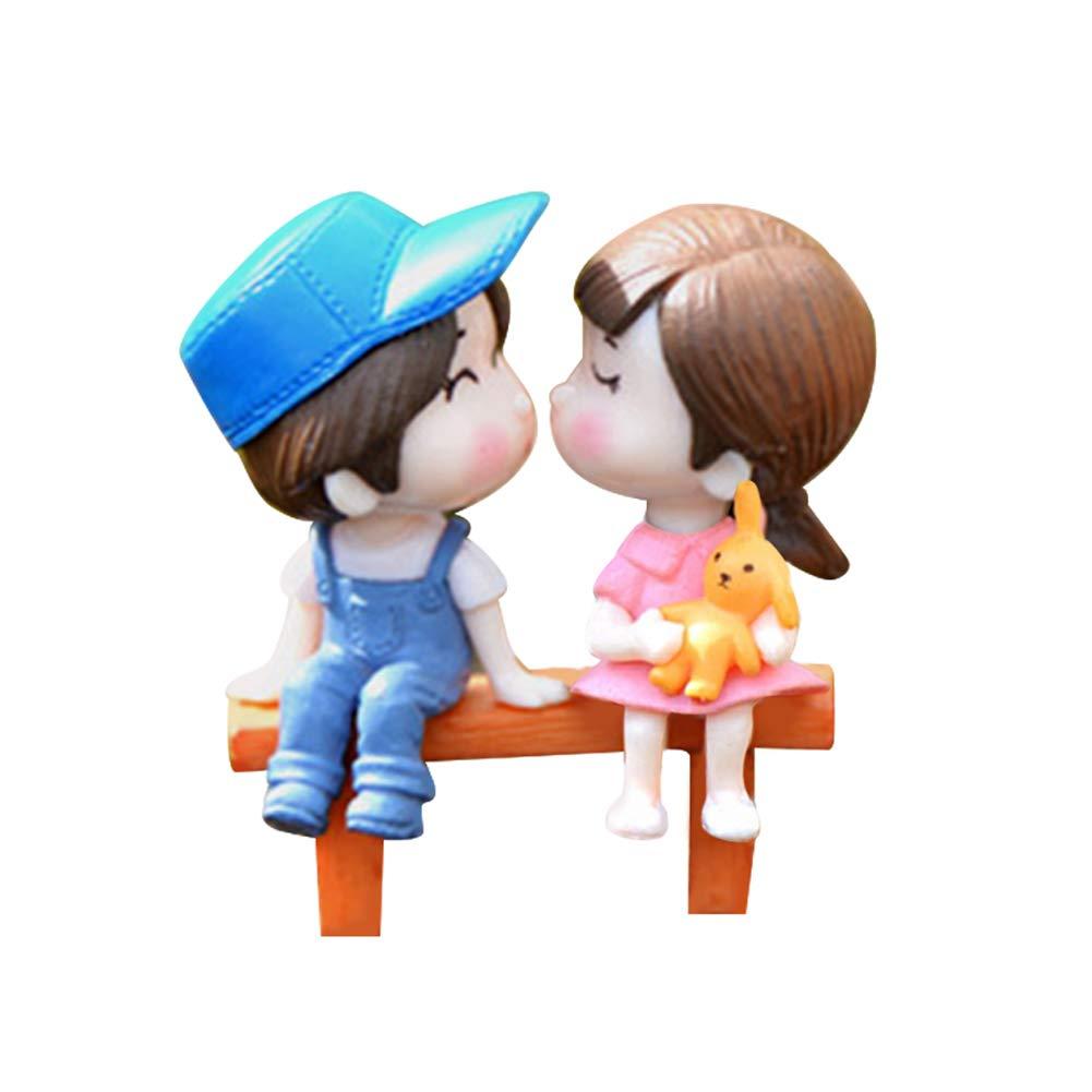 yanQxIzbiu Garden Resin Decor, 3Pcs/Set Lovers Chair Miniature Landscape DIY Ornament Garden Dollhouse Decor - Blue + Pink- Best Indoor Outdoor Decorations for Patio Yard Office and House