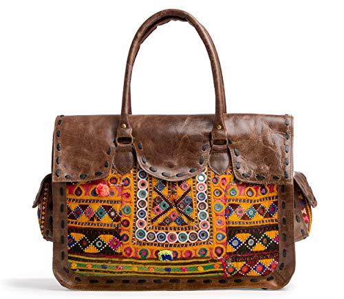 Handicraft-Palace Women's Fashion Leather Bag Embroidered Afghani Design Shoulder Hobo Bag Indian Purse Vintage Briefcase Satchel Messenger -