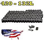 420 Motorcycle Chain 132-Link With 1 Connecting Link High Performance Natural