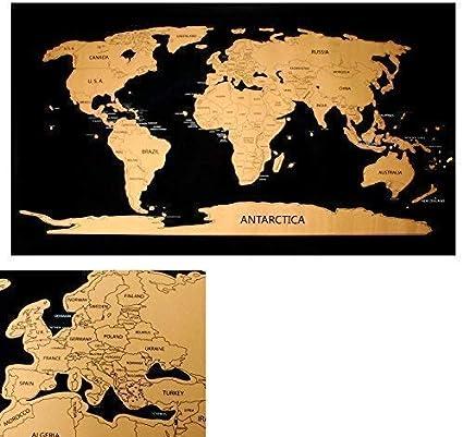 Rubbelweltkarte Mapa Del Mundo para Libre Rascar Scratch Off World Mapa Tarjeta Del Rasguño Mapa de País: Amazon.es: Amazon.es