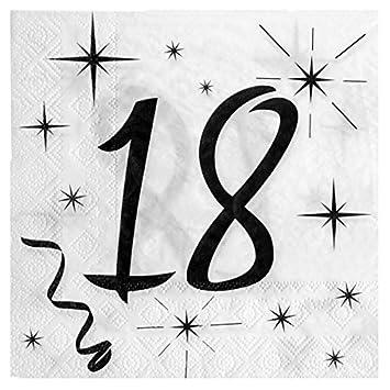 Geburtstags Servietten 18 Zum 18 Geburtstag In Weiß Schwarz