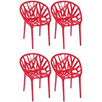 Mod Made Branch Chair Mid-Century Modern 4-Pack, Red