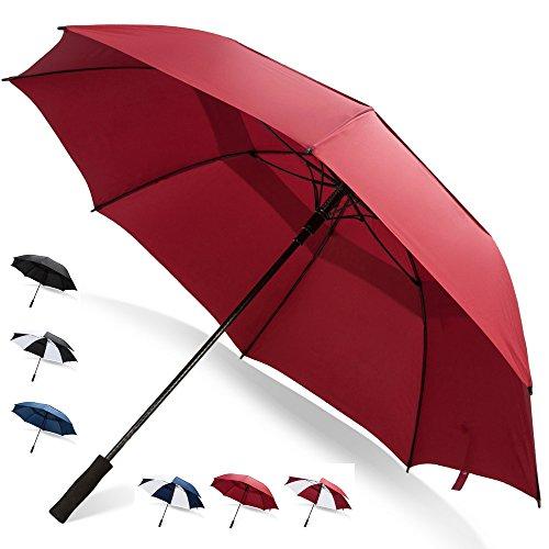 62 Inch Golf Umbrella (Red, 1-Pack) UV Umbrella Protection Sun Big Umbrella Waterproof Canopy Umbrella for Women Umbrellas for Kids Oversized Umbrella