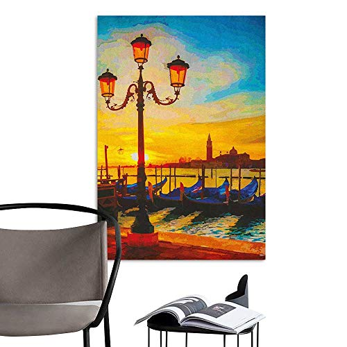(3D Murals Stickers Wall Decals Venice Antique Lantern and Gondolas Floating in The Grand Canal Artistic Sunrise Orange Yellow Blue Stair Elevator Side W20 x)