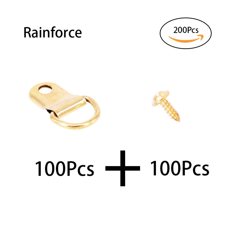 200Pcs Golden Metal D Ring Picture Hangers Frame Hanging Hangers Single Hole with Screws for Picture Painting Frame Cross-stitch