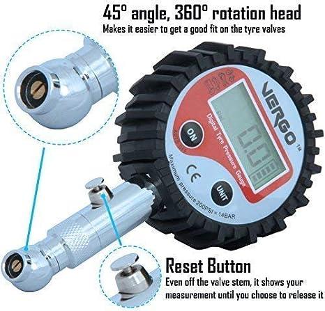 VERGO Medidor Digital de Presión para Neumáticos - Manometro Pantalla de 2 Pulgadas-LCD iluminada-Unidades de Medida Multiples - 0-200 PSI/ 0-14 Bar - Auto ...