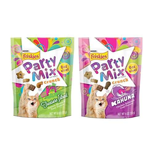Friskies Party Mix Crunch Cat Treats Variety Pack - 2 Flavors (Kahuna & Treasure Island) - 6 Oz Each - Crab Puff