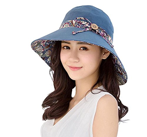 Women Summer Floppy Hat Wild Bowknot Travel Blue Cotton Sun Hat Big Folding along Beach Hat