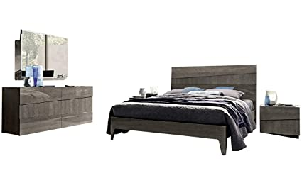 Amazon.com: Tekno Contemporary King Bedroom Set in Silver ...