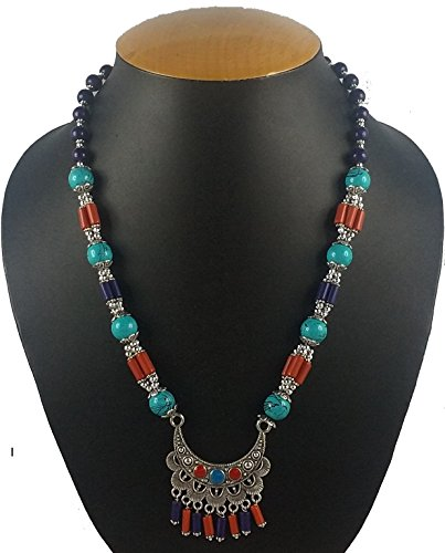 Extension Oxidized Bead Necklace (Aradhya Women's Designer German Silver And Beads Necklace)