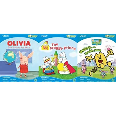 Vtech Bugsby Reading System 3 Book Bundle: Max & Ruby, Olivia, Wow Wow Wubbzy: Toys & Games