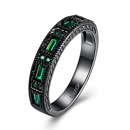 FENDINA Black Gold Ring 18K Womens Created Emerald Green Crystal Jewelry Wedding Engagement Band ()