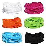 BMC 6pk Solid Colored Multifunctional Seamless Head Bandana Neckwear Scarf Wrap
