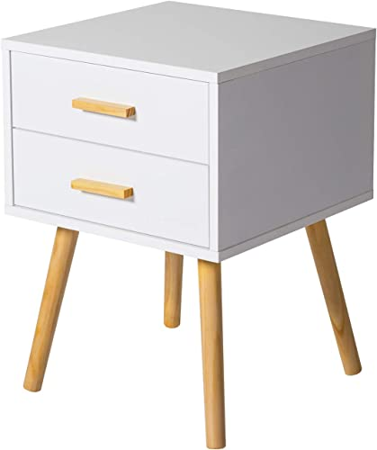 Kinbor Night Stand Table with Double Drawers Side End Table Hallway Bedroom Storage Cabinet