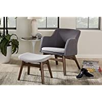 Baxton Studio Vera Fabric Lounge Chair and Ottoman in Gray and Walnut