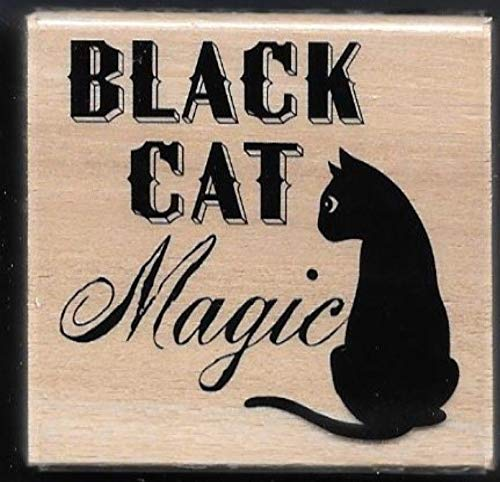 Rubber Stamp Frames New Black CAT Magic Superstition Words Halloween Craft Smart Wood Rubber Stamp -