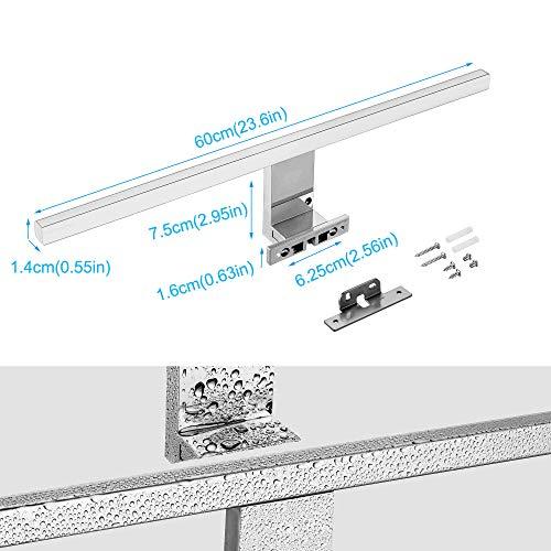 Lámpara LED de Espejo 10W 820LM Lámpara de Baño Azhien, Blanco Neutro 4000K Lámpara LED de Pared Luz de Pared IP44 230V Luz de Espejo de Baño de Acero Inoxidable 60cm