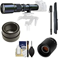 Samyang 500mm f/8.0 Telephoto Lens with 2x Teleconverter (=1000mm) + Monopod Kit for Sony Alpha NEX-C3, NEX-F3, NEX-5, NEX-5N, NEX-7 Digital Cameras