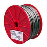 CAMPBELL Stainless Steel 316 Wire Rope on Reel, 7x19 Strand Core, 3/16-Inch Bare OD, 250-Feet Length, 740-Pound Breaking Strength
