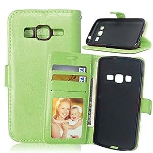 Galaxy Core Prime G360 Carcasa, [] Syncwire Cable gratis TOMYOU Carcasa Case Funda/Estuche/funda de protección/Cover/PU Leather-Carcasa para Samsung Galaxy Core Prime G360 (G3606 G3608) () verde