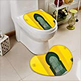 Large Contour Toilet Mat Morroccan Oriental Style Walkway Old Islamic Building Architecture Stone Carving Photo Green Yellow Non-Slip Microfiber Bathroom mat Anti Skid