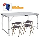 REDCAMP Outdoor Picnic Table Adjustable, Folding Camping Table with 4 Chairs, Aluminum White 47.2