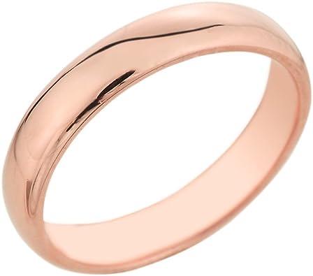 Epinki 4MM 14K Rose Gold Plated Dull Polish Couple Wedding Band Rings for Women Size 9