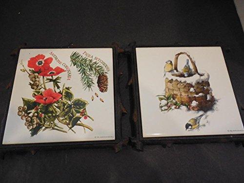 2 1995 Marjolein Bastin Trivet Wall Plaques Cast Iron Tile Flowers, Birds