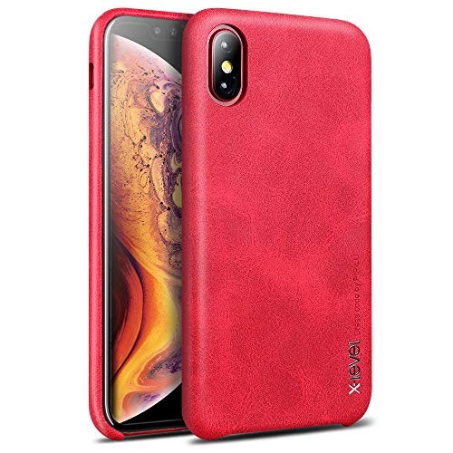 (Case Compatible iPhone Xs and X, X-Level [Vintage Series] Premium PU Leather Slim Fit Ultra Light Soft Touch Protective Mobile Cell Phone Case Cover Compatible Apple iPhone Xs (2018)/X(2017)-Red)