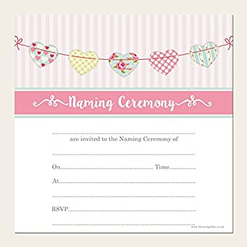 Naming Ceremony Invitations - Cute Heart Bunting - Pack of 10 ...