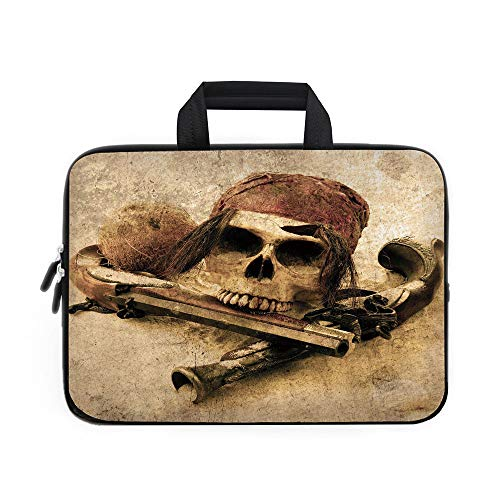 Pirate Laptop Carrying Bag Sleeve,Neoprene Sleeve Case/Pirate Skull with Headscarf and Guns on Beach Grunge Display Danger Robbery Death Decorative/for Apple Macbook Air Samsung Google Acer HP DELL Le -