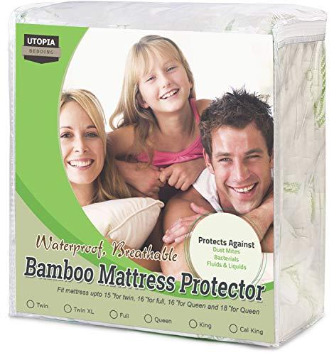 Pad Mattress Waterproof Queen (Utopia Bedding Waterproof Bamboo Mattress Protector - Hypoallergenic Fitted Mattress Cover - (Queen))
