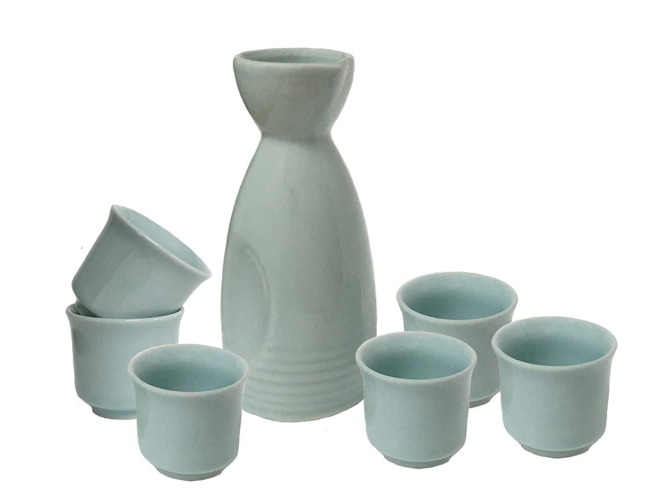 KCHAIN 7 in 1 Ceramic Sake Set include 1PC 9oz/260mL Sake Carafe and 6 PCS 1.7oz/50mL Sake Cups