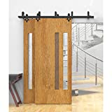 WINSOON Exterior Complete Metal Steel Rail Double Bypass Heavy Hanger Sliding Wooden Barn Doors Track Hardware Kit Quiet Glide System (12FT Double Doors Set)