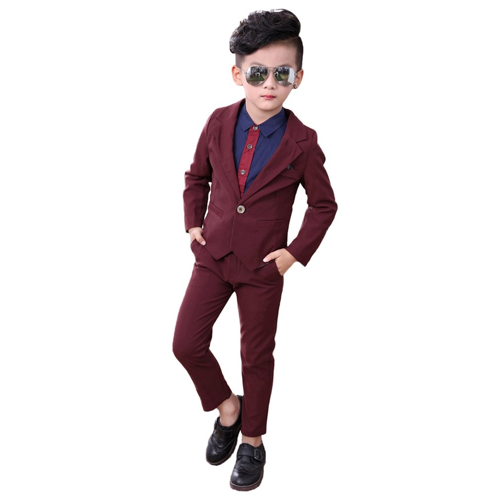 DREAMOWL Little Boys Tuxedo Shirt Wedding Party Suit Formal Wear Suit 3PCS