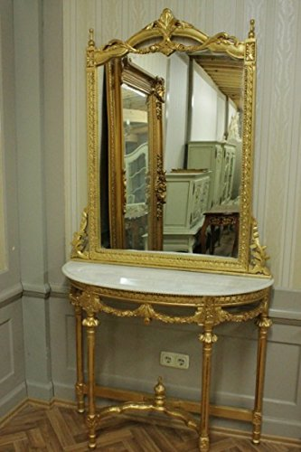 Barock Konsole Antik Stil mit Spiegel u. Marmorplatte AwKs0181GoWe ...