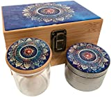 Blue Mandala Stash Box Combo - Large 4 Part Grinder 2.5'' w/Glass stash jar Wood Stash Box Smell Proof Container (Blue Mandala)