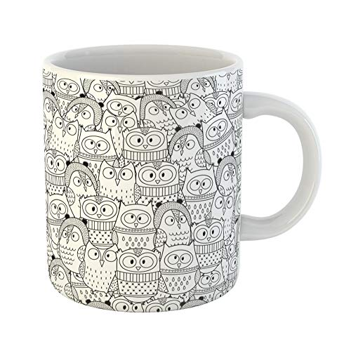 Emvency Coffee Tea Mug Gift 11 Ounces Funny Ceramic Adult Owls in Winter for Coloring Book Black and Animal Gifts For Family Friends Coworkers Boss Mug]()