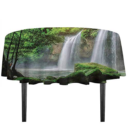 kangkaishi Waterfall Easy Care Leakproof and Durable Tablecloth Cascade Stream in Exotic North Asian National Park Paradise Nature Surreal Print Outdoor Picnic D59.05 Inch White Green -