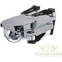 SopiGuard Silver Carbon Fiber Precision Edge-to-Edge Coverage Vinyl Skin Controller Battery Wrap for DJI Mavic Pro