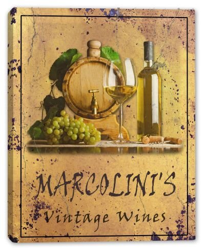 marcolinis-family-name-vintage-wines-stretched-canvas-print