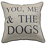YugTex Pillowcases Embroidered Pet Lover Gift, You me and the dogs throw pillow cover, Home decor, dog lovers gift,Housewarming Gift,Couple Cushion cover (18'x18', You me and the dogs(Natural))