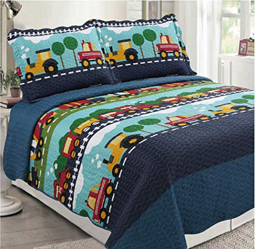 Golden Linens Full Size (1 Quilt, 2 Shams) Navy Blue Aqua Blue, sage Green, Yellow Trains, Trucks & Tractors Kids Teens/Boys Quilt Bedspread/Coverlet # Full Trucks (28)