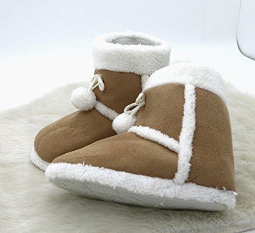Zapatillas de casa con aspecto de piel alcantara, con piel y borla, muy cómodas, con suela antideslizante, fabricación elaborada, para invierno, poliéster, naturaleza, Größe 38 marrón